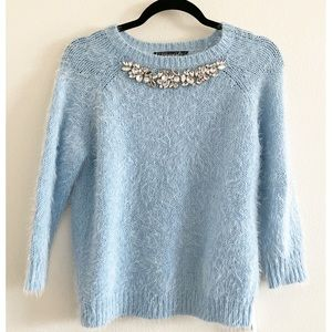 Forever 21 Baby Blue Jeweled Fuzzy Sweater